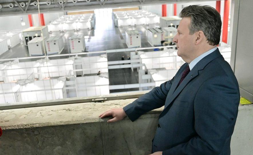Bürgermeister Ludwig inspiziert das Coronavirus-Lazarett in der Messe Wien
