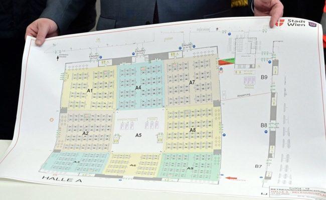 Lageplan der Betreuungseinrichtung in der Messe Wien für Corona-PatientInnen