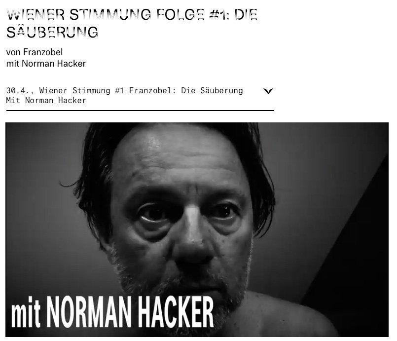 Norman Hacker spricht und spielt einen Text von Franzobel zur Corona-Krise