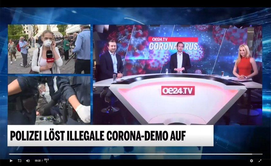 oe24.tv war bei der illegalen Corona-Demo in Wien live dabei