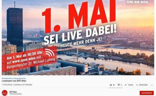 Video-Stream zum 1. Mai der SPOE auf Youtube
