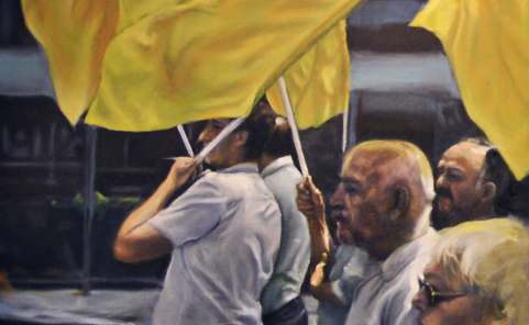 """Kurt Kopta Gemälde mit Titel """"Fahnen"""" ziert Cover des """"Zentralorgan für Kulturpolitik"""" Heftes"""