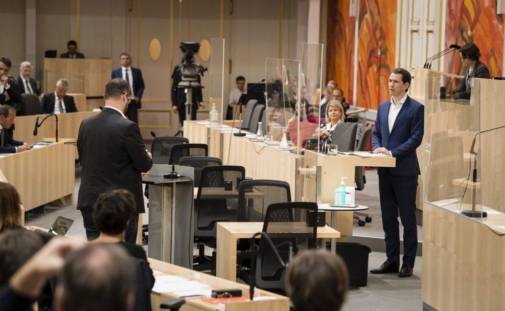 Fragestunde im Nationalrat. Am Rednerpult: Bundeskanzler Sebastian Kurz (V)