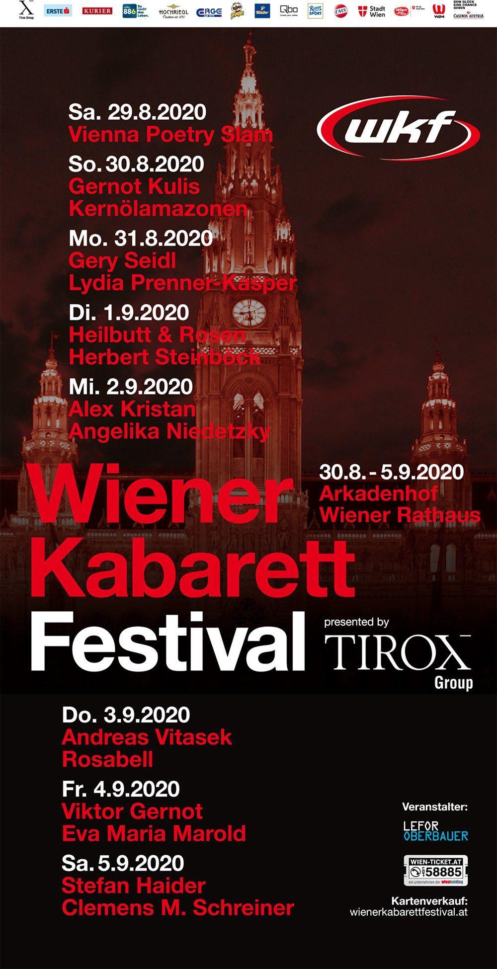 Grandiose Künstler beim Wiener Kabarettfestival 2020 im Arkadenhof vom Rathaus