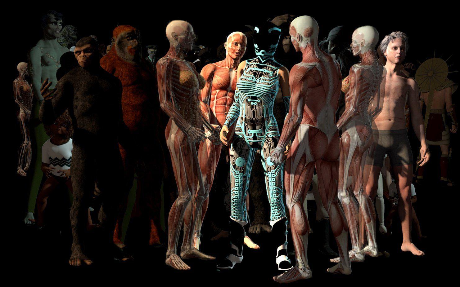 No Man II von Ho Tzu Nyen vereint 50 aus Onlinematerial digital generierte Figuren in der Kärntnertorpassage