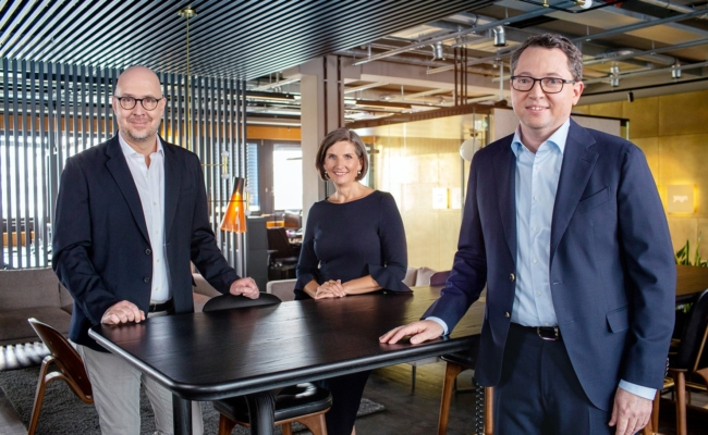 ProSiebenSat.1 Vorstand Rainer Beaujean, Christine Scheffler und Wolfgang Link