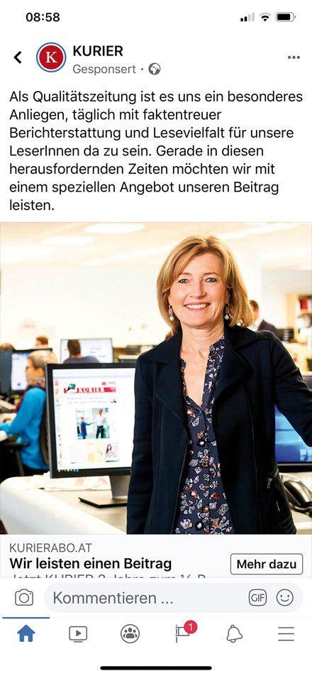 """Abo-Werbung mit """"Kurier""""-Chefredakteurin Martina Salomon auf Facebook"""