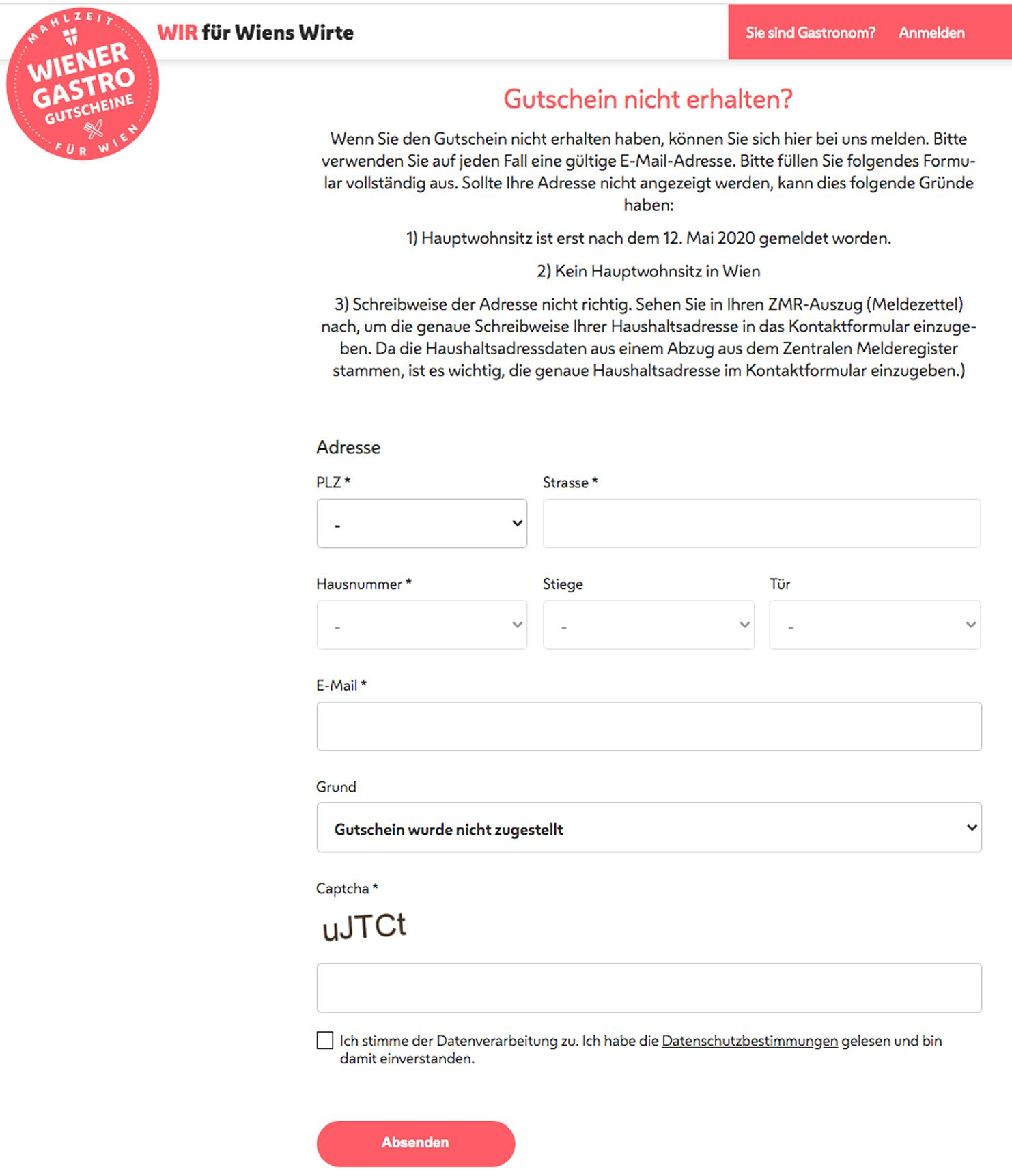 wienergastrogutschein.at Kontaktformular Screenshot