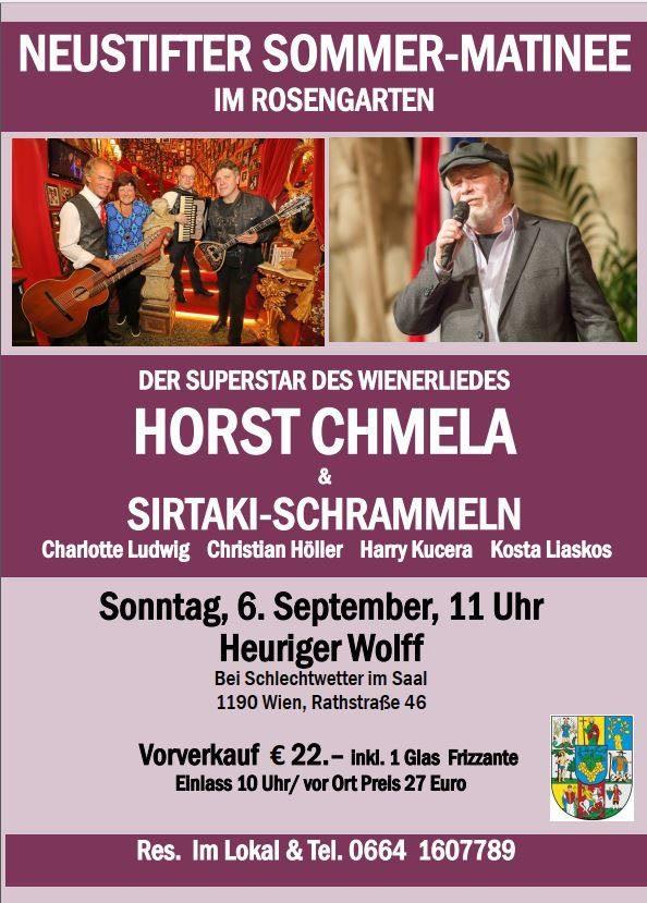 Neustifter Sonntags-Matinee mit Horst Chmela und Sirtaki-Schrammeln am 6. September 2020 beim Heuriger Wolff