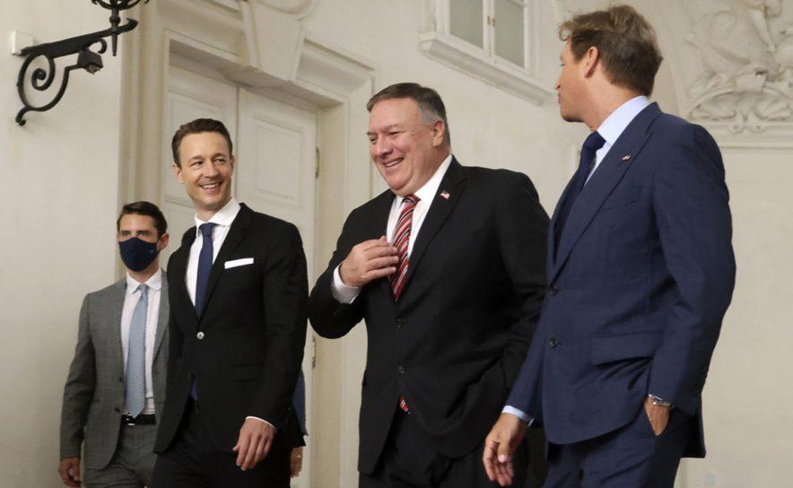 US-Aussenminister Mike Pompeo, Finanzminister Gernot Blümel und der US-Botschafter in Österreich Trevor Traina