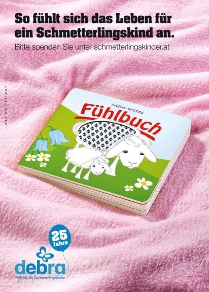 Fühlbuch-Sujet von GGK Mullenlowe für Debra Austria