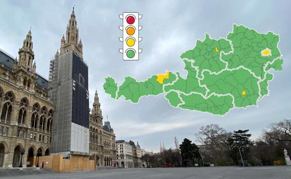 Corona-Ampel in Wien vom Start weg auf Gelb