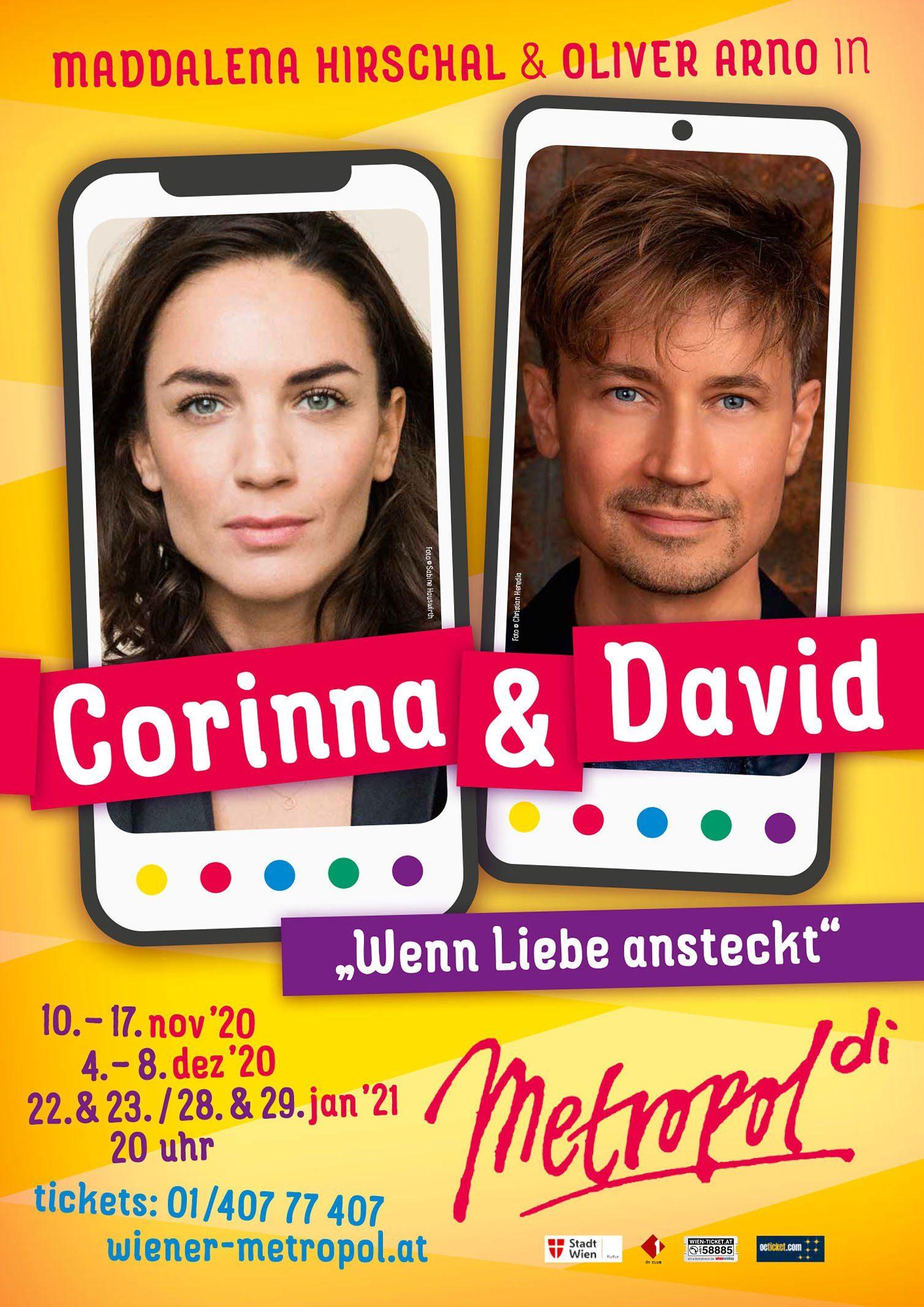 """Das Wiener Metropol bringt Komödie """"Corinna und David"""" von René Freund auf die Bühne."""