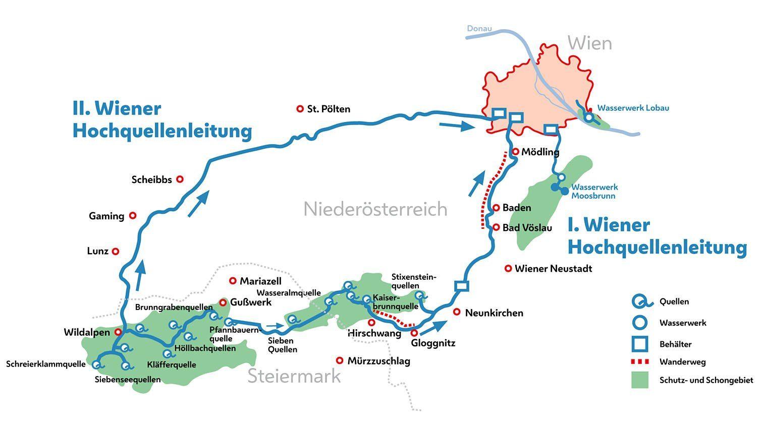 1. Wiener Wasserleitungswanderweg Karte