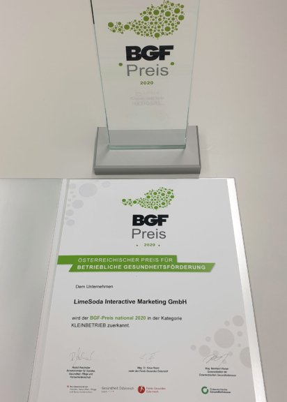 Nationaler BGF-Preis 2020 - Urkunde und Award für Limesoda