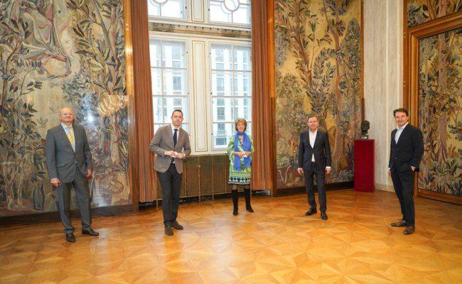 Peter Schöber, Bogdan Roščić, Alexander Wrabetz und Martin Traxl in der Staatsoper
