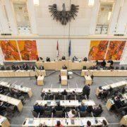 Blick Richtung Abgeordnete zum Nationalrat und Präsidium